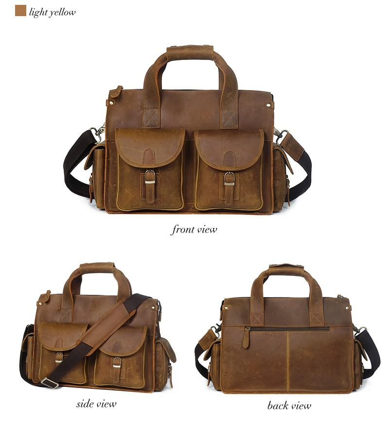 YD-8045 Vintage retro business genuine leather briefcase for man ... 89f35940c59ef