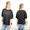 Fat women clothing Short Sleeve Oversized Black Ruffle Sleeve Top fancy summer tops for women