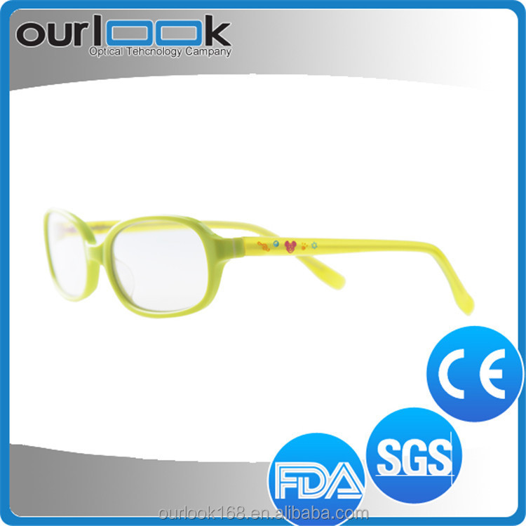 2016 Green Frame Yellow Temple Children Custom Logo Printed Optical Glasses