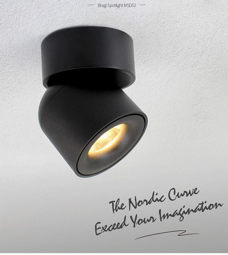 Bắc âu thiết kế Tuôn Ra Gắn Trắng/đen có thể điều chỉnh 7 W ánh sáng tại chỗ Dimmable anti-glare led spotlight