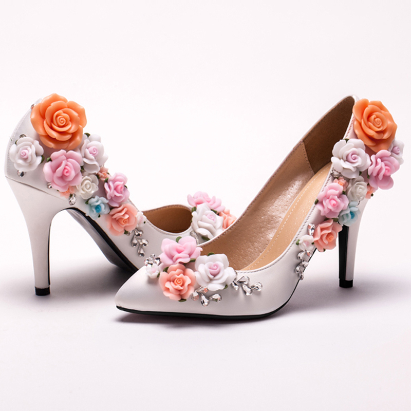 Get Quotations Custom Made Elegant Bridal Wedding Shoes White Satin Flower High Heel Lady New Arrived Pointed