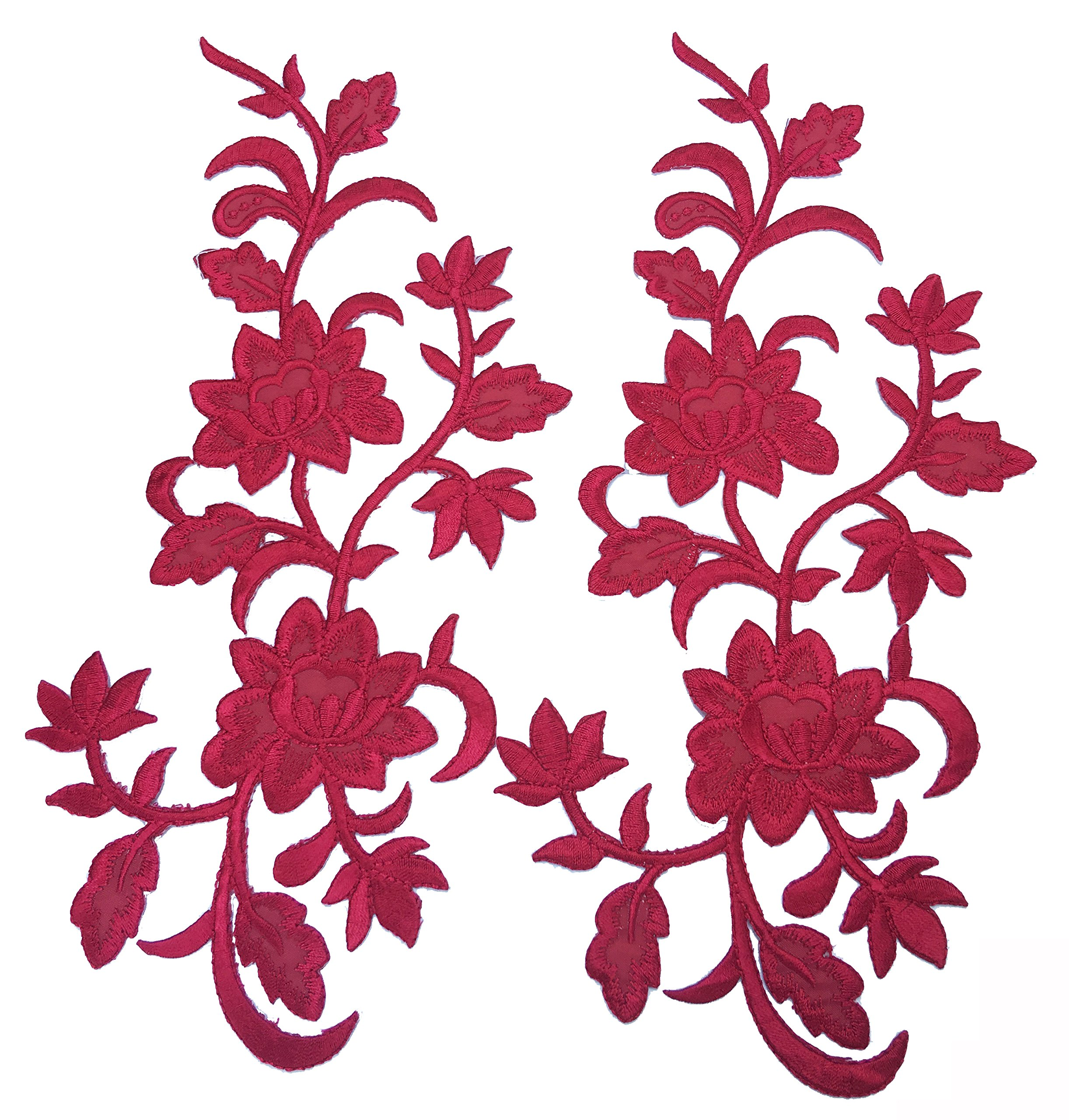 Two Big Flower Iron on Embroidered Appliques Patch Embroidered Lace Fabric Ribbon Trim Neckline Collar (Red)