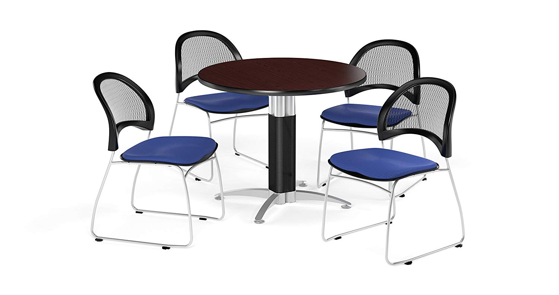 OFM PKG-BRK-175-0042 Breakroom Package, Mahogany Table/Royal Blue Chair