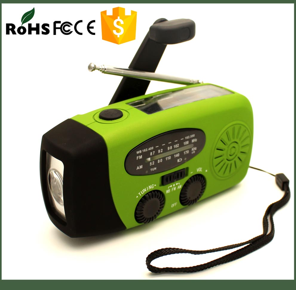 4 in 1 multifunctional solar hand crank radio with phone charger