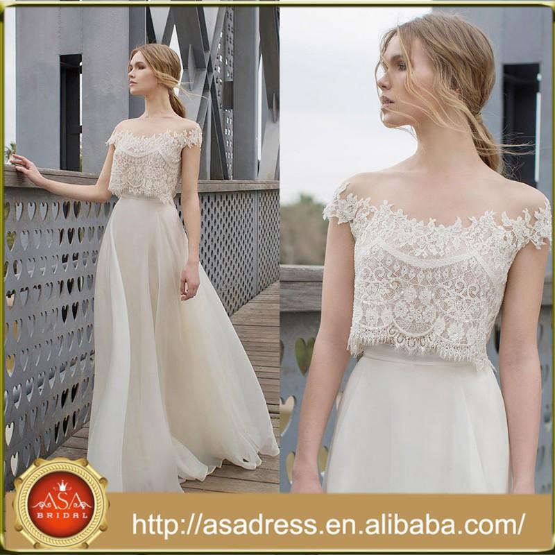 Lr05 Two Piece Lace Chiffon Bride Gowns Boat Neck Long A Line Cheap