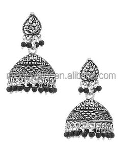 Antique Silver Indian Dangle Drop Bollywood Women's Oxidised Jhumki Earrings Pair With Black Beads