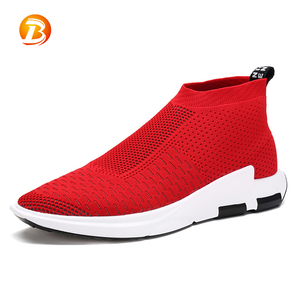 New summer casual loafers good elasticity red knit socks sport shoes