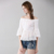 New women's one-shoulder flare sleeves cotton and linen button hollow pattern blouse