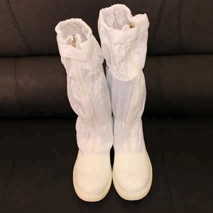 White Leather Steel Toe Safety Antistatic Cleanroom ESD Boot With PU Sole