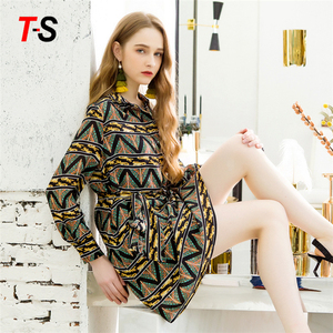 High Quality Women Long Sleeve Shirt Collar Silk Dress