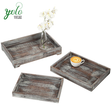 Set of 3 Piece Decorative Display Nesting Breakfast holder Torched Wood Serving Trays