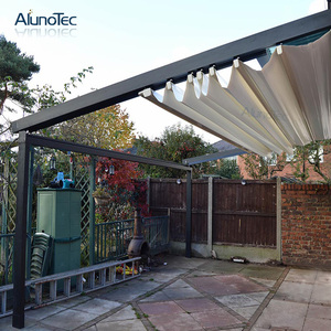 Outdoor Waterproof Awning Pergola Automatic Retractable Awnings With Side Blinds