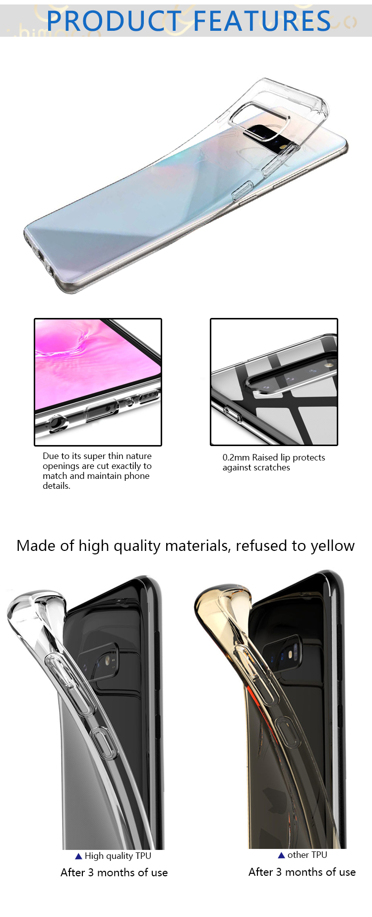 High Clear Anti Bump Soft TPU Phone Case For Samsung Galaxy S10 S10 Plus S10e