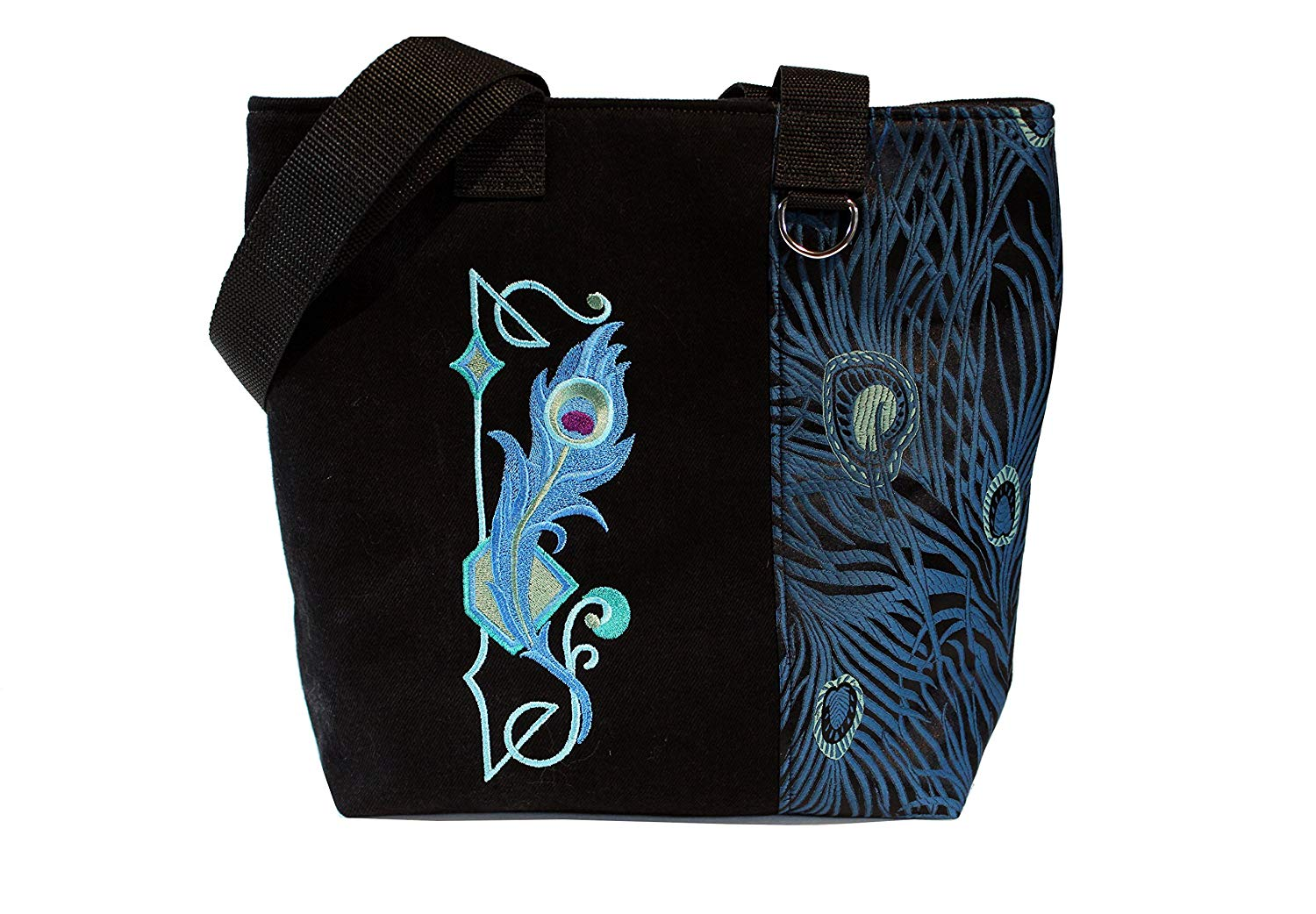 Tote Bag- Peacock Feathers- A recycled denim, embroidered, lined totebag. Eco-Friendly handbags.