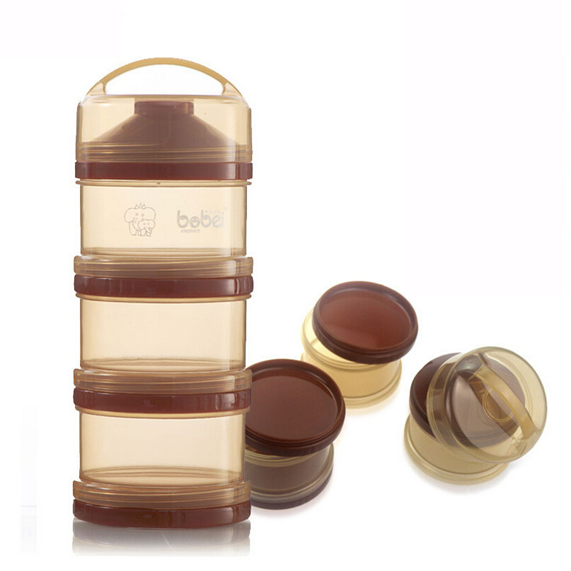 3 Layers Infant Baby Food Container Detachable Travel Milk Food Powder Storage Box Super Quality Brown