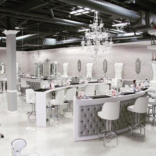 Triple Seats Salon White Bar Chairs / Manicure Nail Bar Tables - Buy ...