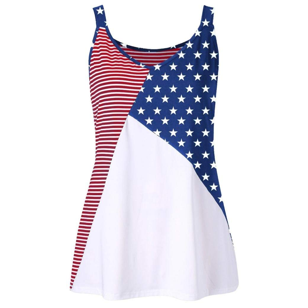 Casual American Flag Cami Tank Top for Women Juniors Plus Size Racerback Loose Strappy Sleeveless Tops Basic T-Shirt Blouse (3XL, Multicolor)