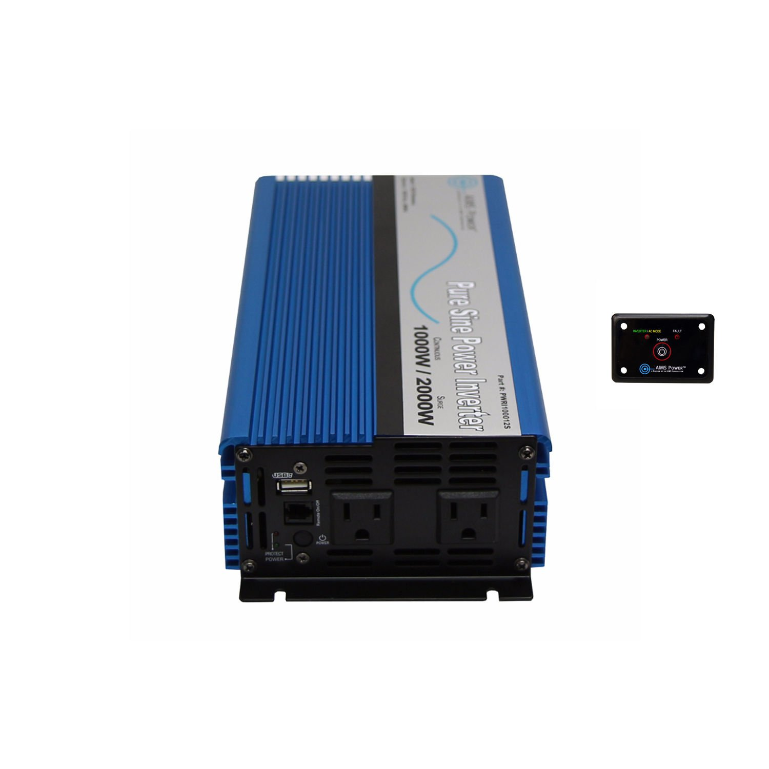 AIMS Power PWRI100012120S-REMOTE 1000-Watt 12V Pure Sine Wave Power Inverter with Remote Switch, 1000W Continuous Power, 2000W Surge Peak Power, USB Port, Dual AC Receptacles, On/off Switch