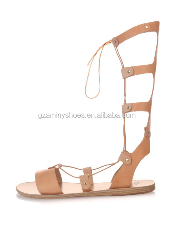 Pretty Girls New Design Women Sexy Sandals Flat Knee High Sandals