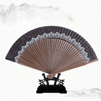 Custom Bamboo Handle Handmade Chinese Lace Folding Fan With Hand