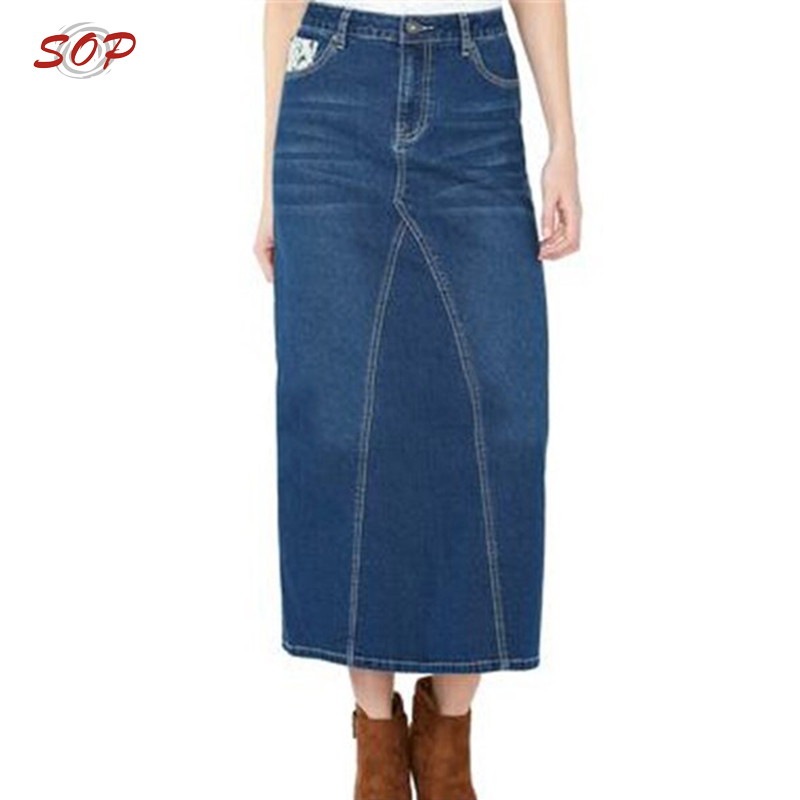 75d461e0cca6 Wholesale Jean Skirt Women High Quality Cotton Maxi Long Denim Skirts