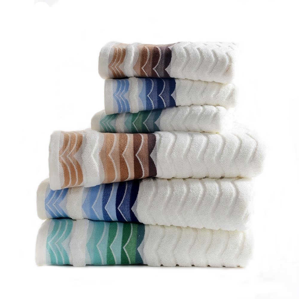 100% cotton yarn terry jacquard bath towels set Bailixin