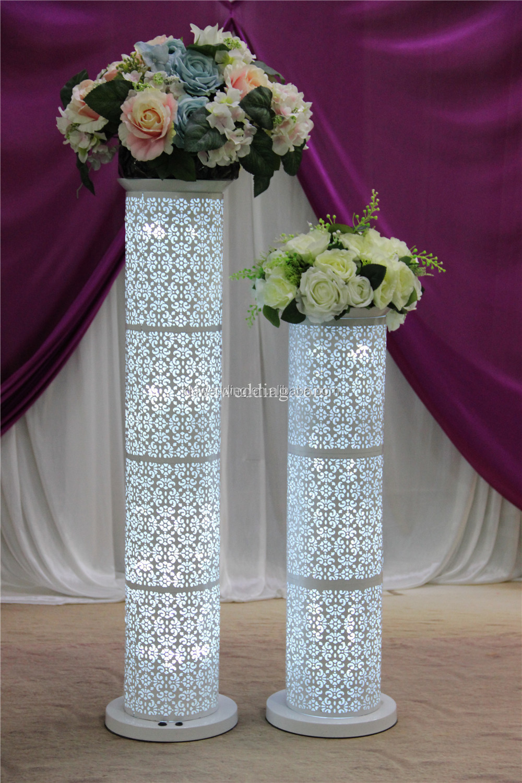 Wedding pillars led white column flower stand
