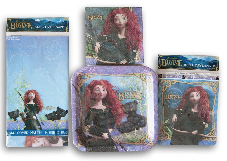 Disney Princess Brave Merida Birthday Party Set - Plates, Napkins, Tablecover, Banner