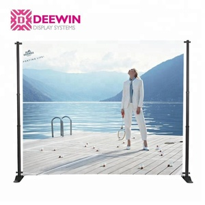 Aluminum backdrop telescopic banner stand graphic display with telescopic poles for trade shows