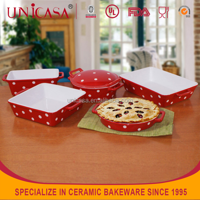 UNICASA ceramic manufacture hand paint dot bakeware set