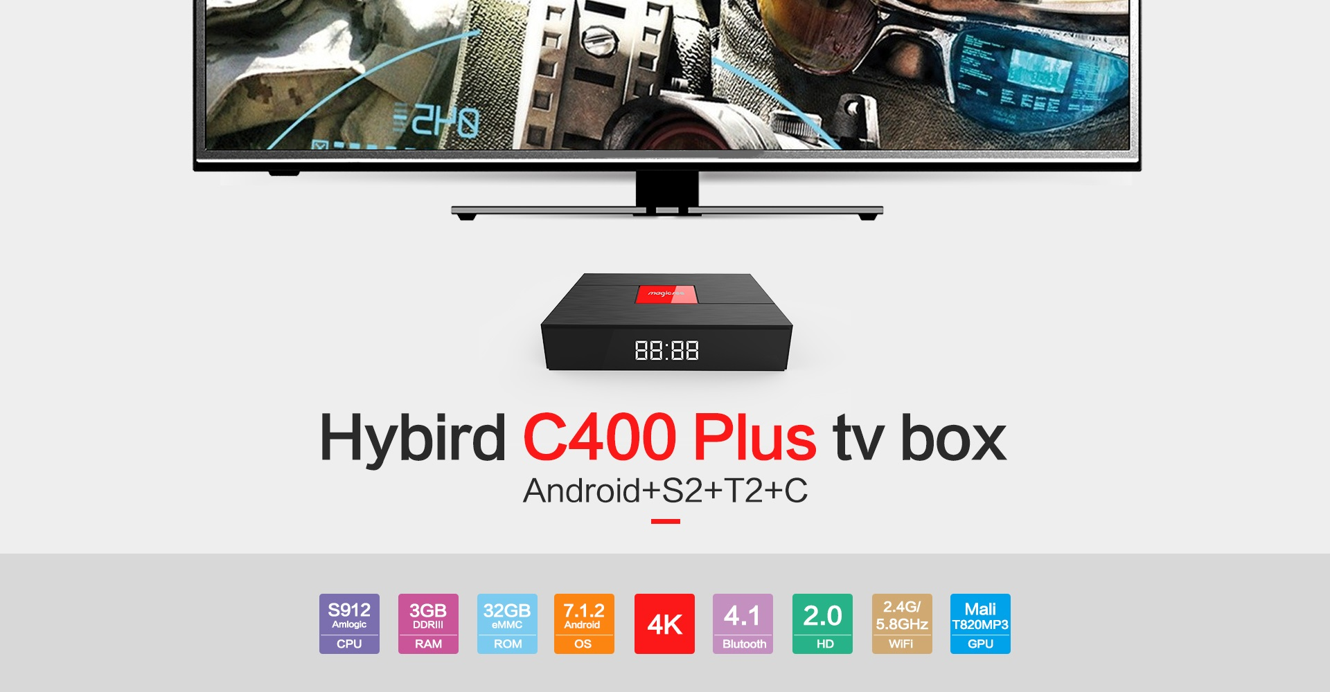 Factory whosale Amlogic s912 android DVB S2 T2 Magicsee C400 plus smart set top box