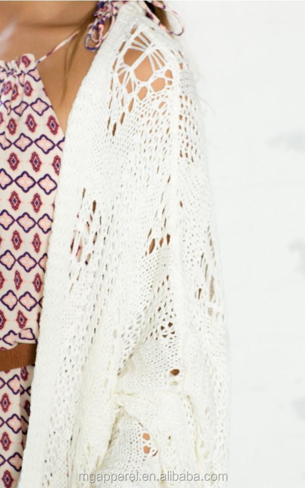 High Fashion Fringe Detail Kimono Women Hand Crochet Kimono Cardigan