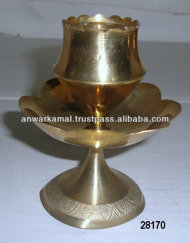 Brass Pooja Lotus Flower Agardan For Temple And Home Gold Finish