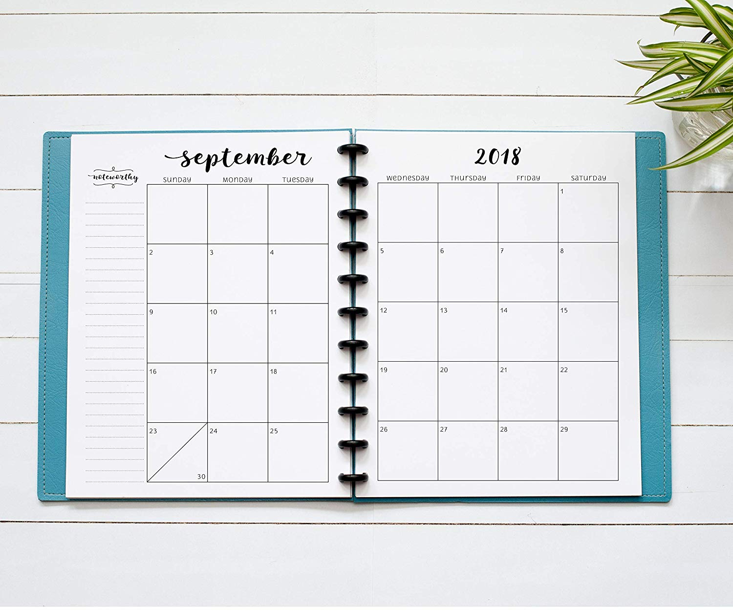 """2018-2019 Monthly Calendar for Disc-Bound Planners, 11-Disc Notebook, Fits Circa Letter, Arc by Staples, TUL by Office Depot, Letter Size 8.5""""x11"""" (Planner Not Included)"""