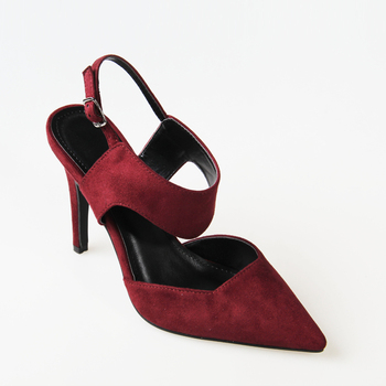 38c782f136 women suede stiletto slingbacks pumps pointed toe ankle buckle adjustable  high heels