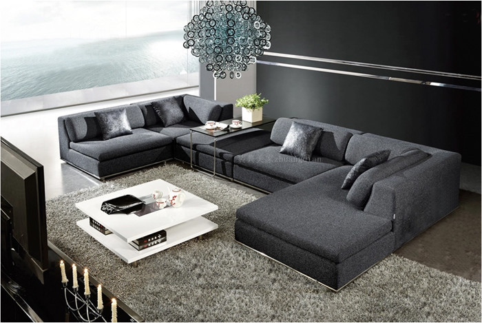 U shaped fabric sofa hereo sofa for V shaped living room