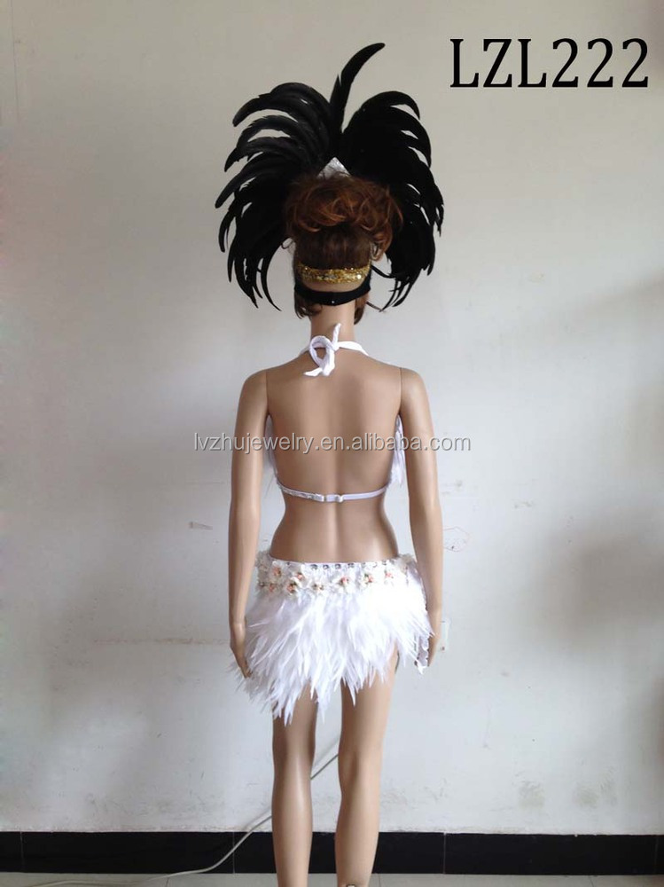 Showgirl/Dance Burlesque Feather samba costume LZL222