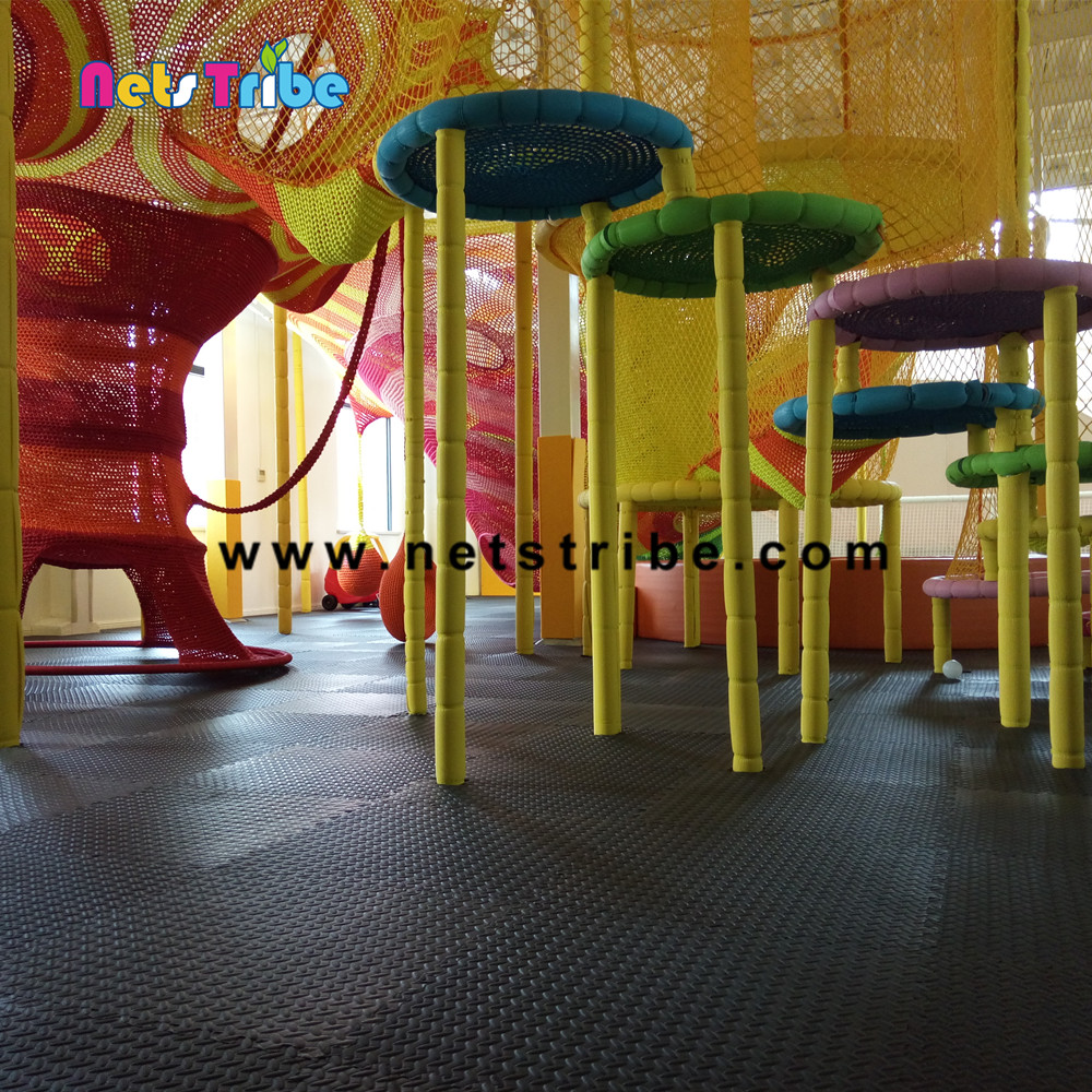 Alibaba rainbow amusement park equipment climbing nets indoor soft playground