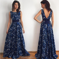 2018 latest new selling printed halter sleeveless formal long dress,royal maxi blue sexy evening dress with deep back V neck