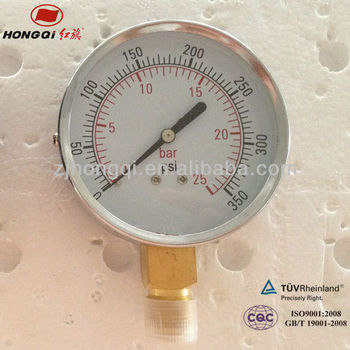 Hongqi brass bourdon tube common pressure gauge for sale