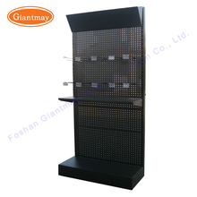 retail trade show peg board floor hanging hardware tools produce display stand shelves with hooks