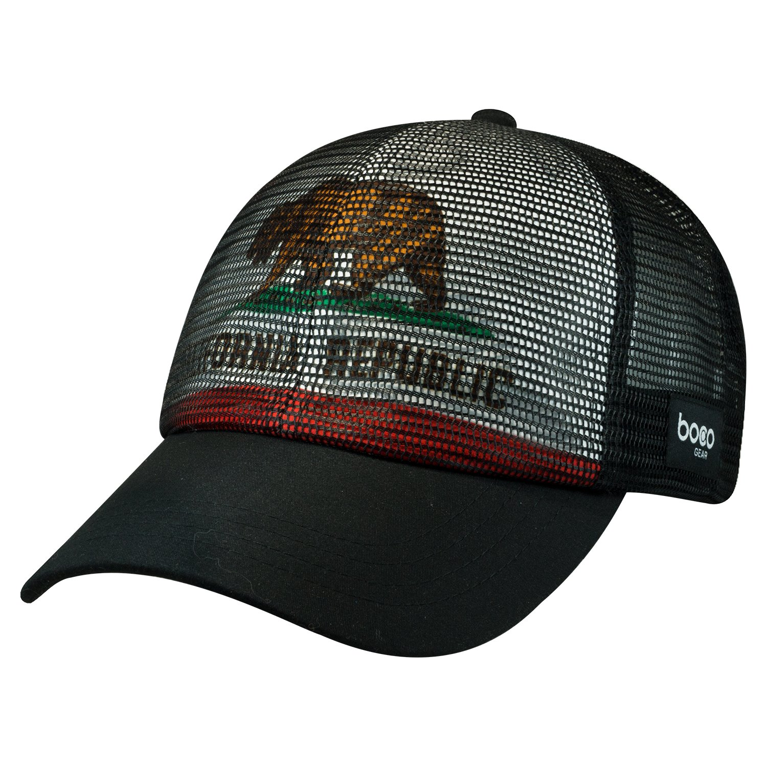 7ab0e0d8f12 Get Quotations · BOCO Gear All Mesh Technical Trucker Hat - California -  Black - Flag underlay