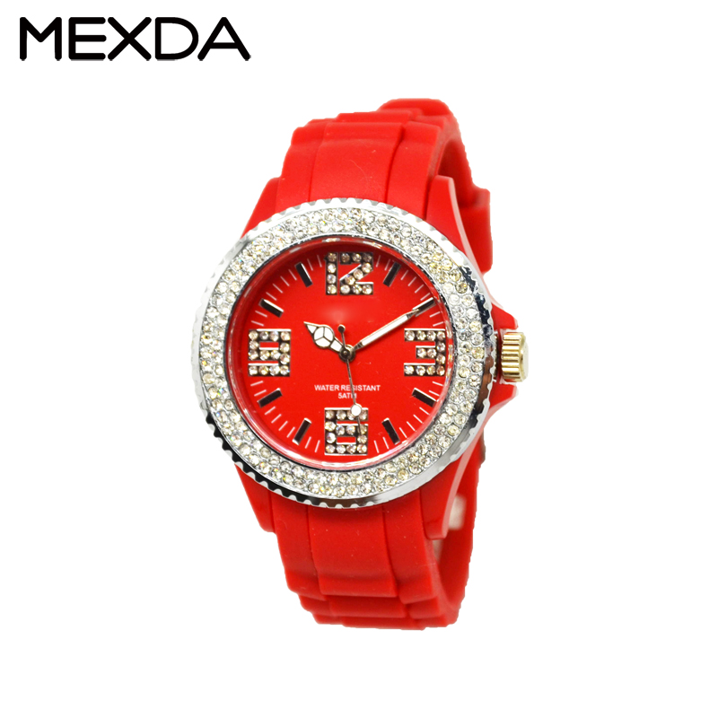 Silicone geneva wrist women watch dimond crystal jelly sports quartz watches dressing ladies watches
