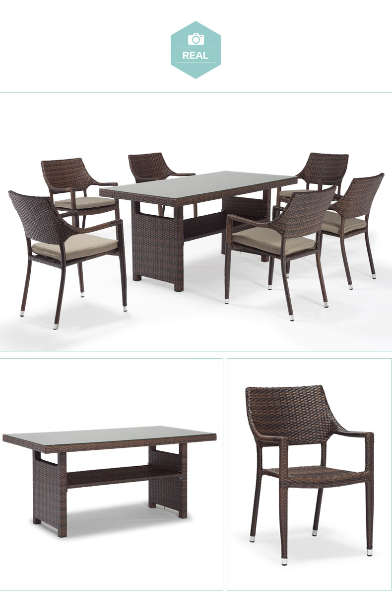 6 Seats Outdoor Dining Set Poly Rattan Furniture Outdoor