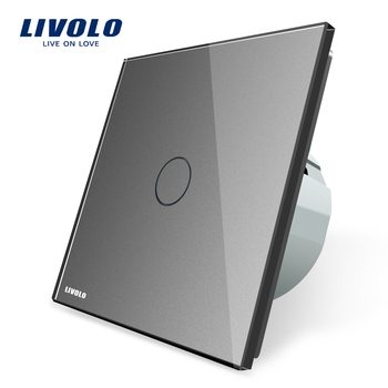 LIVOLO brand Tempered glass panel colorful design Grey color one gang one way power touch li ght switch VL-C701-15