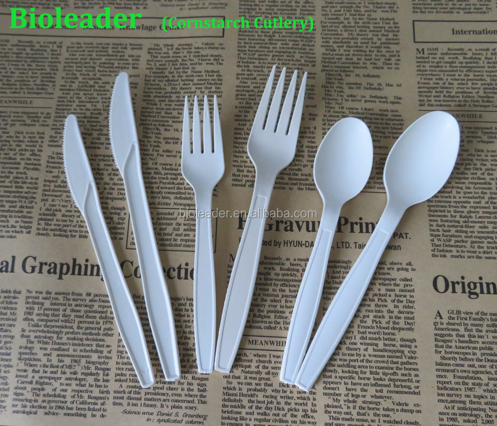 FDA Standard Biodegradable Cornstarch Raw Material Travel Cutlery Set (Spoon/ Fork/ Knife)