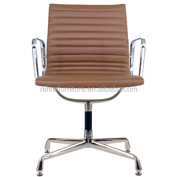Dark Brown Leather Office Chair With Fixed Base For Coffee Ea108 Rf S073