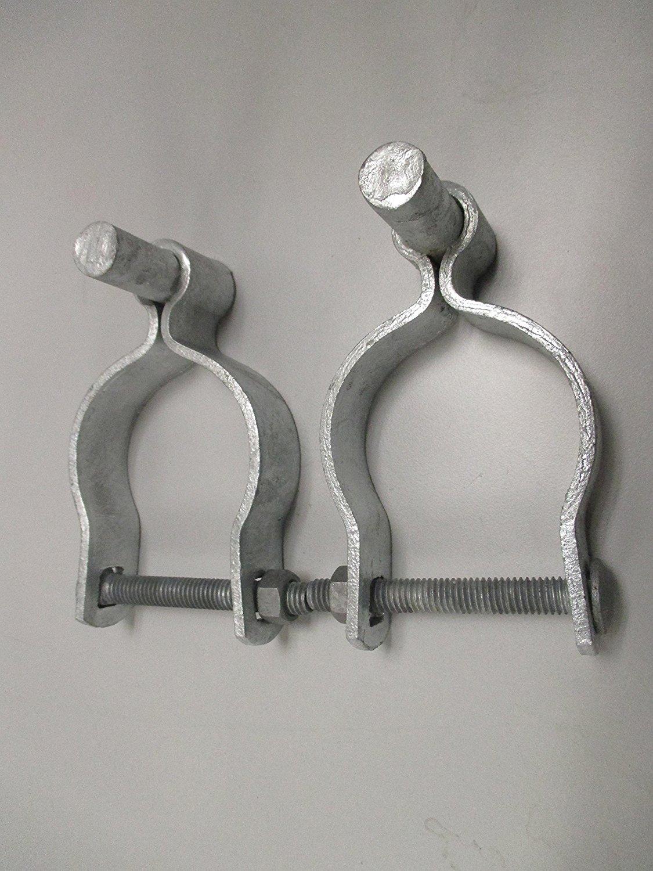"Pressed Steel Chain Link Fence Post Hinge w/Bolt - (2 Sets Pack) (1-3/8"")"