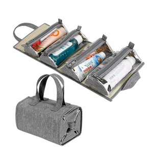 Removable Storage Bags Hanging Roll-Up Makeup Organize Bag Toiletry Kit Travel Cosmetic Organizer for Women
