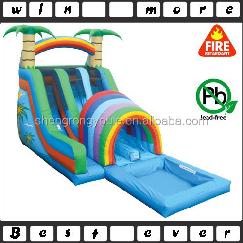 double funnel tunnel water slide, tropical rush water slide